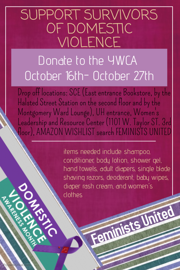 Feminists United flyer with magenta background and text describing the event.