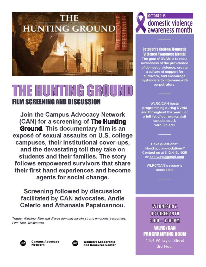 The Hunting Ground screening flyer with a still image from the film at the top.