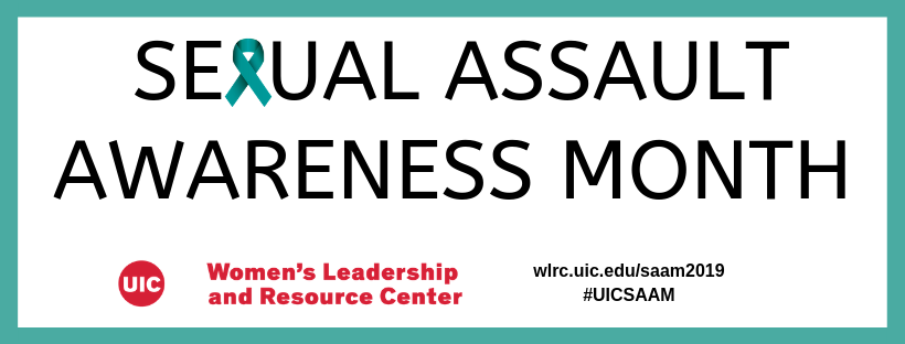 Sexual Assault Awareness Month in black letters with a teal awareness ribbon in place of the