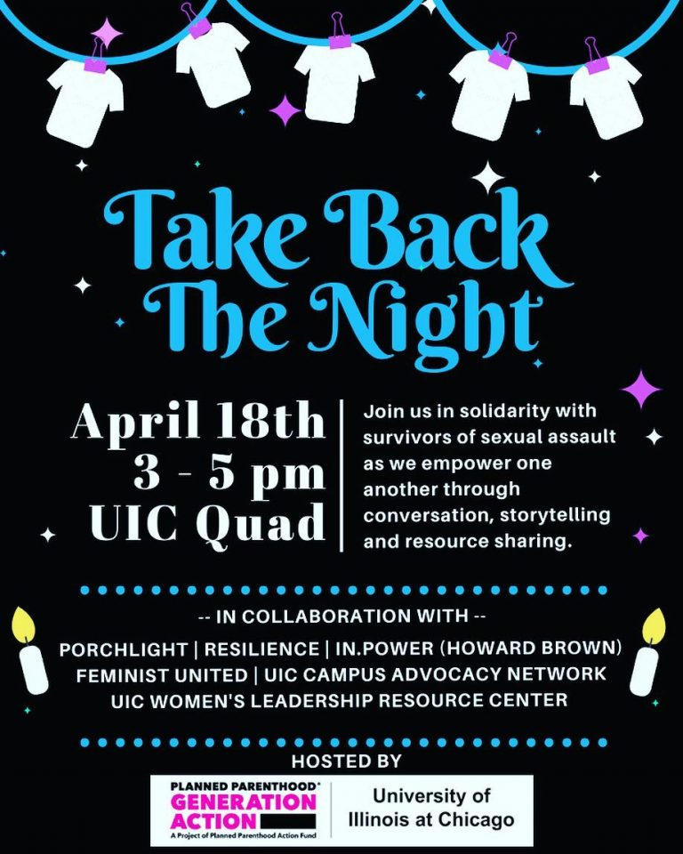 Take Back the Night in turquoise letters with text details about the event in white letters, on a black background, with white t-shirts hanging on a clothesline at the top.