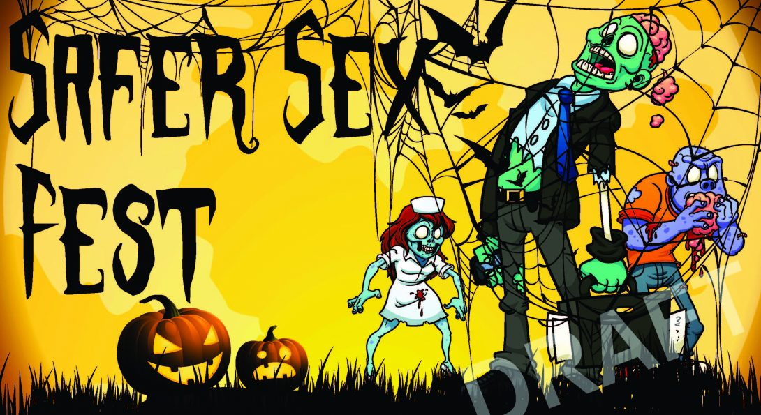 Colorful drawing of a zombie nurse, business person, and casually dressed person with spider webs and jack-o-lanterns, with the words