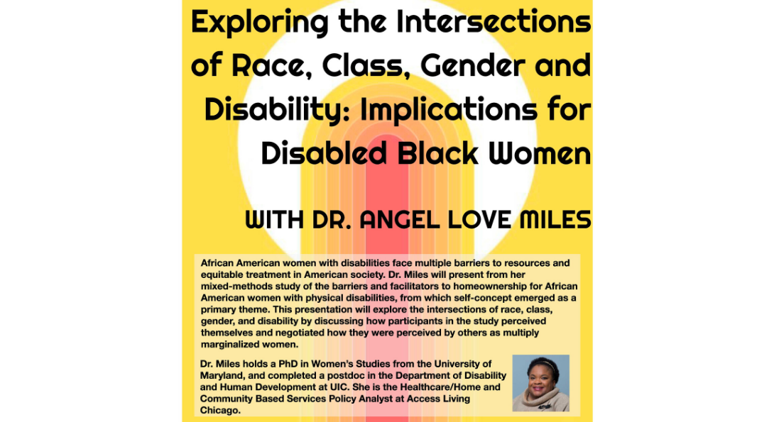 The text transcribed above appears in black on a yellow background with a large white circle near the top, overlaid by a red rounded column surrounded by concentric orange shapes that radiate out like an elongated rainbow. Near the bio information is a small portrait of Angel Miles, a smiling Black woman with short hair, wearing a headband and a tan cowl-necked sweater. The DCC, AACC, and WLRC logos are in red at the top of the flyer.