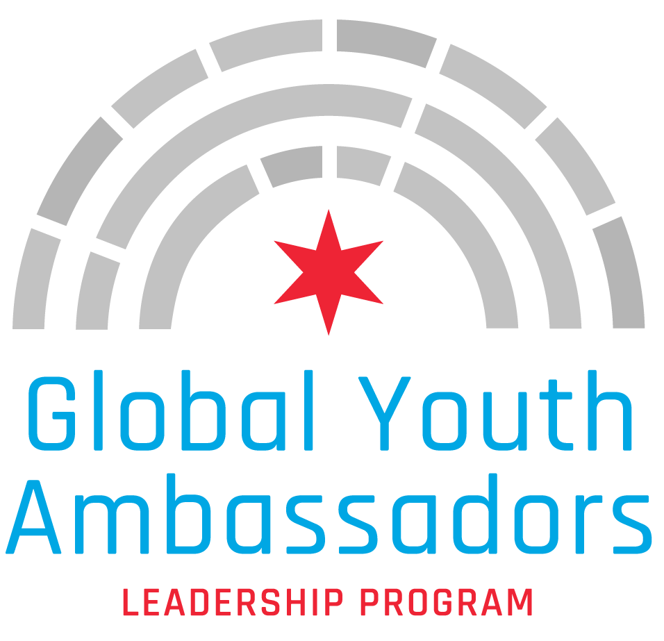 The Global Youth Ambassadors Leadership Program logo: 3 grey arches with a red Chicago star in the middle, and the name of the program printed below in blue and red.