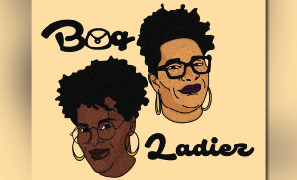 The heads of two Black women, both with glasses and hoop earrings.