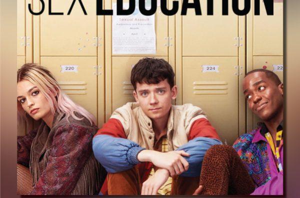 Three teenagers sit in front of school lockers