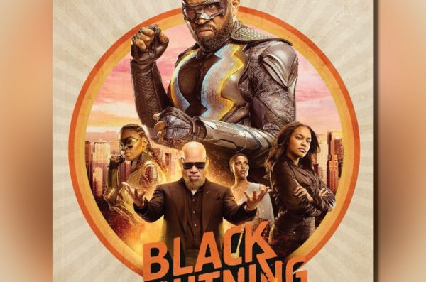 The superhero Black Lightning, wearing a tight bodysuit and eyemask, with smaller images of other show characters below him.