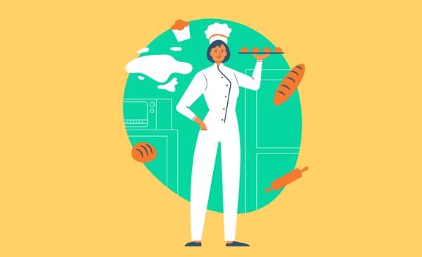 Illustration of a woman chef in a white chef coat and white chef's hat stands holding a tray of baked goods.