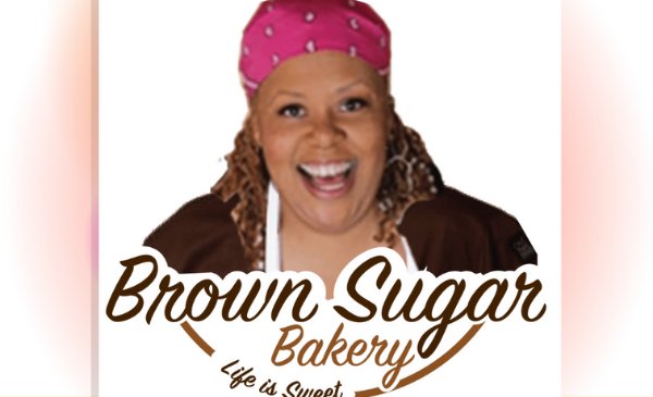 Brown Sugar Bakery logo with picture of Chef/Owner Stephanie Hart smiling