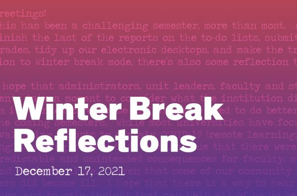 Winter Break Reflections graphic with a red to purple gradient in the back. Overlayed is a section of the essay
