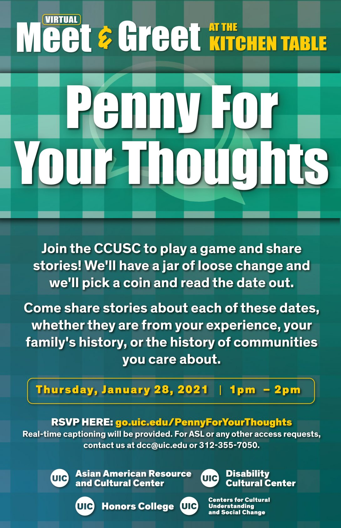 Uic Academic Calendar 2021 Virtual Meet & Greet at the Kitchen Table: Penny For Your Thoughts