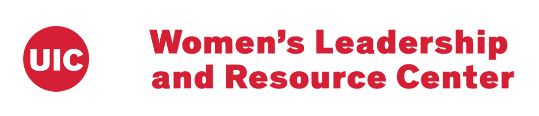 UIC Women's Leadership and Resource Center in red text on a white background