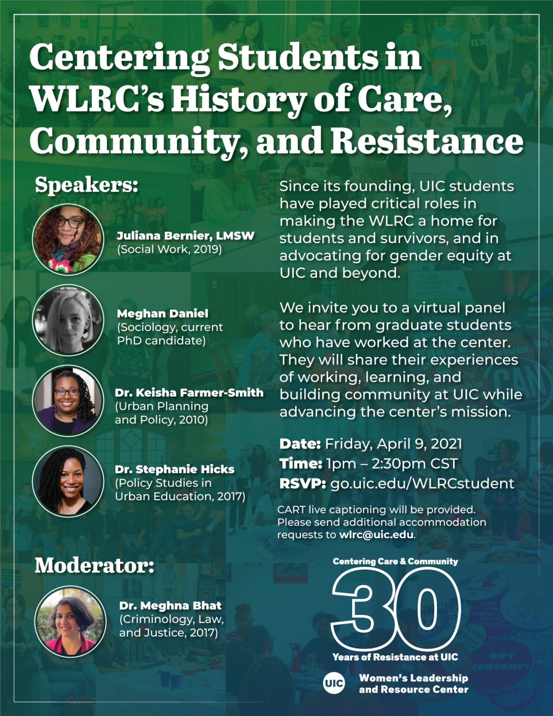 Headsdhots of the 5 former WLRC student employees speaking at the event