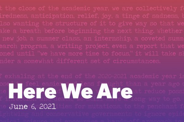 Here we are graphic with a red to purple gradient in the back. Overlayed is a section of the essay