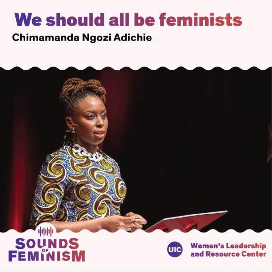 Chimamanda Ngozi Adichie speaking at a podium