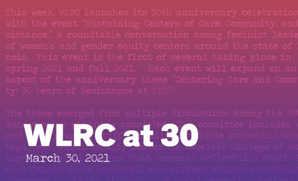 WLRC at 30 Here we are graphic with a red to purple gradient in the back. Overlayed is a section of the essay