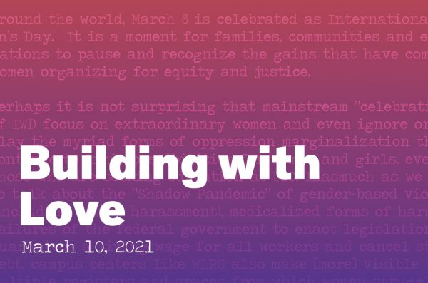 Building with Love graphic with a red to purple gradient in the back. Overlayed is a section of the essay