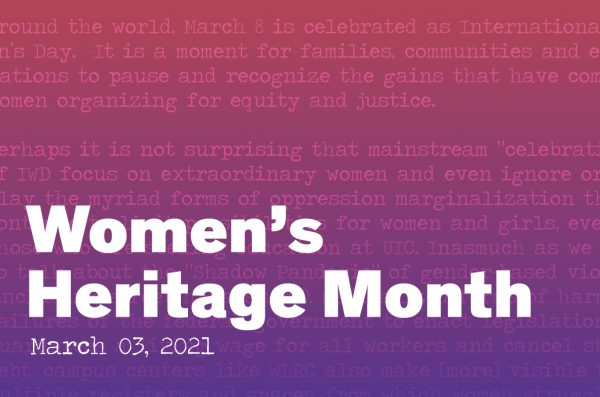 Womens's Heritage Month graphic with a red to purple gradient in the back. Overlayed is a section of the essay