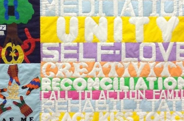 A quilt promoting unity, meditation, self love, creativity and reconciliation.