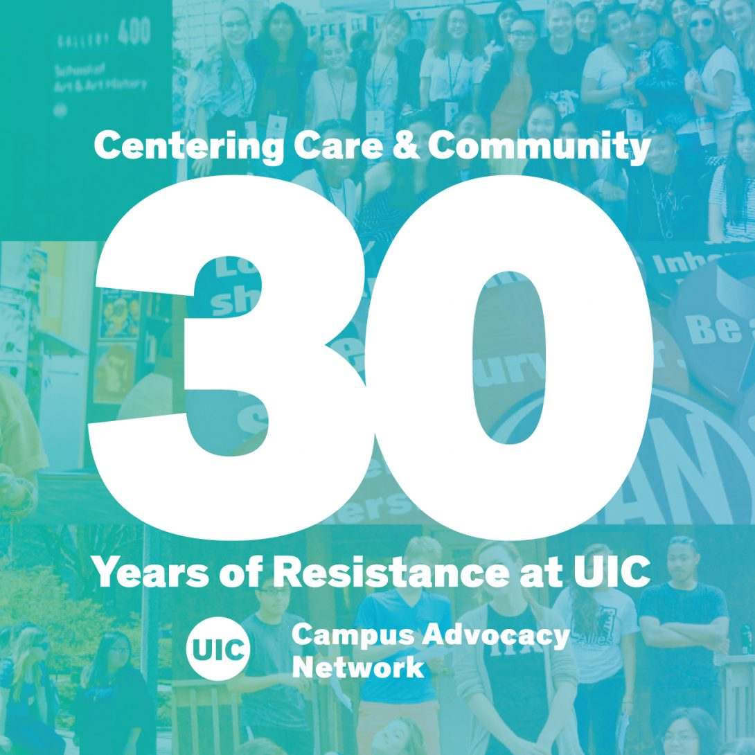 White text on a teal background overlaid on a collage of photos of various WLRC events: Centering Care & Community. 30 Years of Resistance at UIC. Campus Advocacy Network.