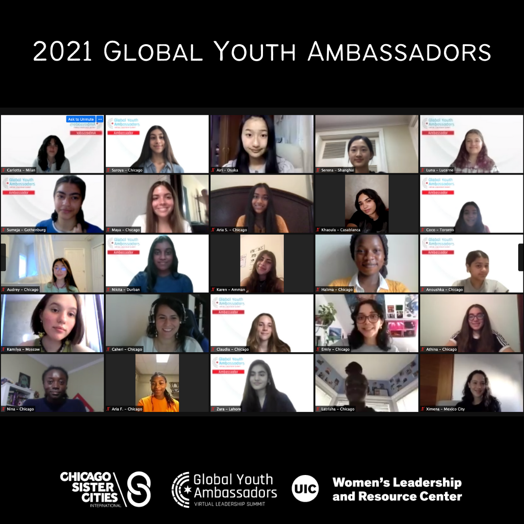 A Zoom screen grid of participants of the 2021 Global Youth Ambassadors Leadership Summit