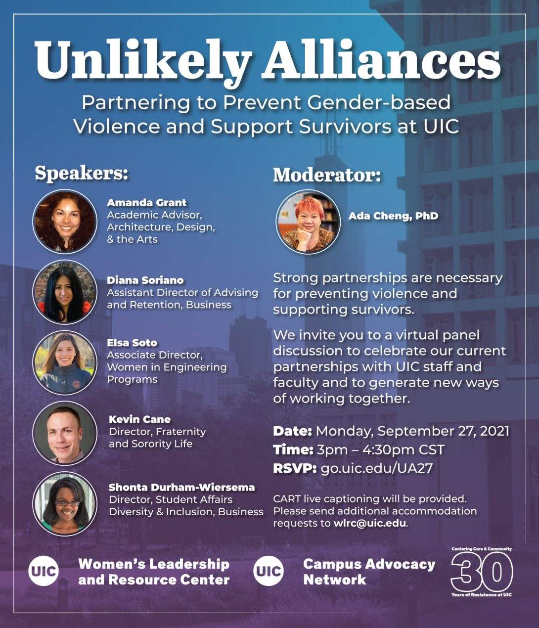 A faded image of some of UIC's campus buildings and the Chicago skyline, overlaid in a blue and purple gradient, and headshots of the event speakers with text describing the event