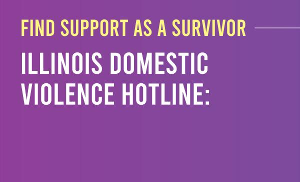 Find support  as a survivor: Illinois Domestic Violence hotline. Purple to dark purple gradient with the title and description