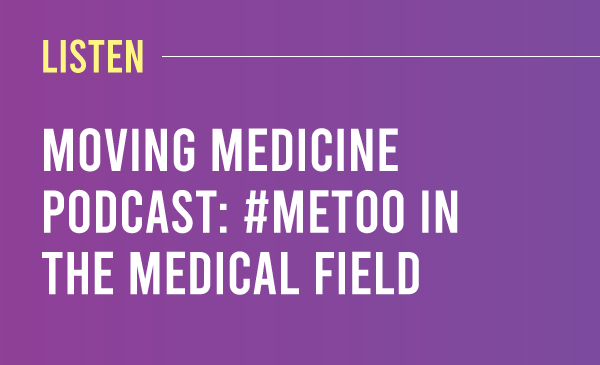 Listen to To the American Medical Association's Moving Medicine podcast's discussions. Purple to dark purple gradient with the title and description
