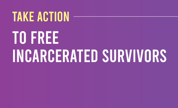 Take action to free incarcerated survivors. Purple to dark purple gradient with the title and description