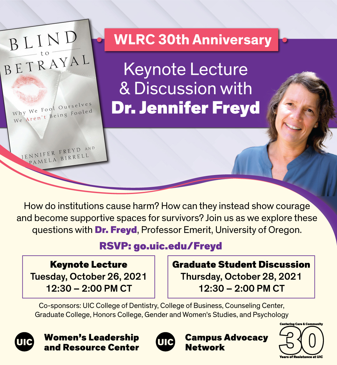The book jacket of _Blind to Betrayal_, which features a kiss-shaped red lipstick stain on a white shirt collar, next to a photo of Dr. Jennifer Freyd. Below that is text describing the event.